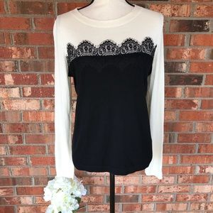 Talbots Black And White Sweater with Lace Front.